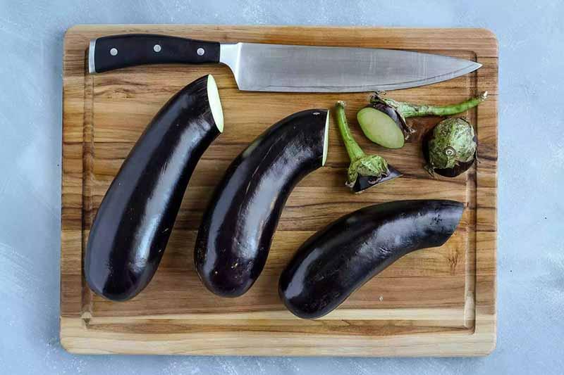 Coupez le bout de l'aubergine.